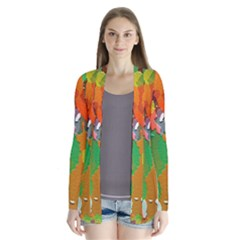 Background Colorful Abstract Drape Collar Cardigan