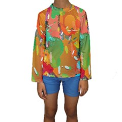 Background Colorful Abstract Kids  Long Sleeve Swimwear