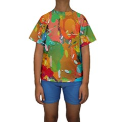 Background Colorful Abstract Kids  Short Sleeve Swimwear