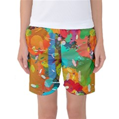 Background Colorful Abstract Women s Basketball Shorts