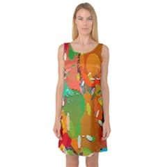 Background Colorful Abstract Sleeveless Satin Nightdress