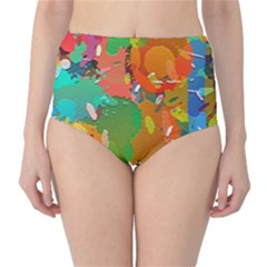 Background Colorful Abstract High Waist Bikini Bottoms