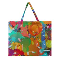 Background Colorful Abstract Zipper Large Tote Bag