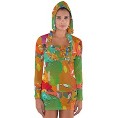 Background Colorful Abstract Long Sleeve Hooded T Shirt