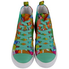 Background Colorful Abstract Women s Mid Top Canvas Sneakers