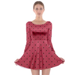 Watermelon Minimal Pattern Long Sleeve Skater Dress