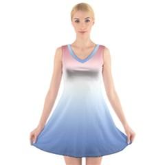 Red And Blue V Neck Sleeveless Skater Dress