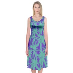 Electric Palm Tree Midi Sleeveless Dress