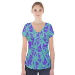 Electric Palm Tree Short Sleeve Front Detail Top