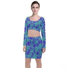 Electric Palm Tree Long Sleeve Crop Top & Bodycon Skirt Set