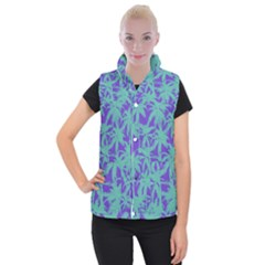 Electric Palm Tree Women s Button Up Puffer Vest