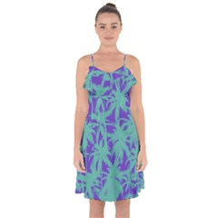 Electric Palm Tree Ruffle Detail Chiffon Dress