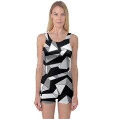 Polynoise Lowpoly One Piece Boyleg Swimsuit