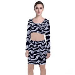 Polynoise Lowpoly Long Sleeve Crop Top & Bodycon Skirt Set