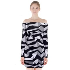 Polynoise Lowpoly Long Sleeve Off Shoulder Dress