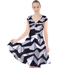 Polynoise Lowpoly Cap Sleeve Front Wrap Midi Dress