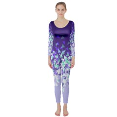 Purple Disintegrate Long Sleeve Catsuit
