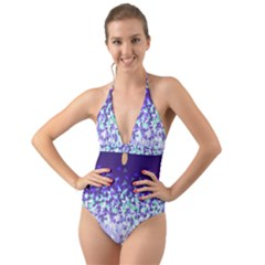 Purple Disintegrate Halter Cut Out One Piece Swimsuit