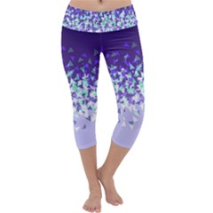 Purple Disintegrate Capri Yoga Leggings