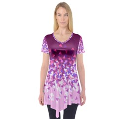 Pink Disintegrate Short Sleeve Tunic