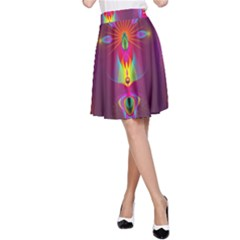 Abstract Bright Colorful Background A Line Skirt