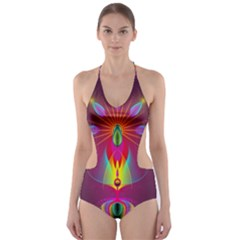 Abstract Bright Colorful Background Cut Out One Piece Swimsuit