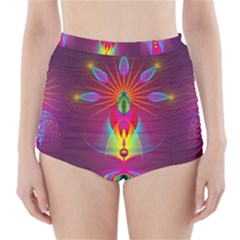 Abstract Bright Colorful Background High Waisted Bikini Bottoms