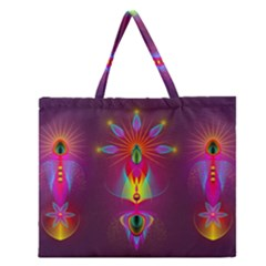 Abstract Bright Colorful Background Zipper Large Tote Bag
