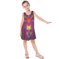 Abstract Bright Colorful Background Kids  Sleeveless Dress