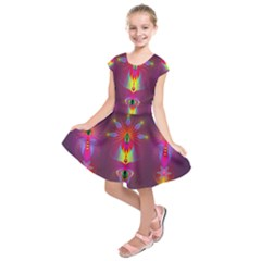 Abstract Bright Colorful Background Kids  Short Sleeve Dress