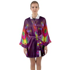Abstract Bright Colorful Background Long Sleeve Kimono Robe