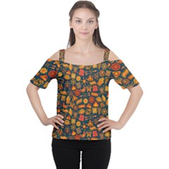 Pattern Background Ethnic Tribal Cutout Shoulder Tee