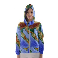 Italy Alpine Alpine Region Map Hooded Wind Breaker (women)