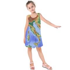 Italy Alpine Alpine Region Map Kids  Sleeveless Dress