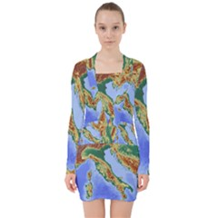 Italy Alpine Alpine Region Map V Neck Bodycon Long Sleeve Dress