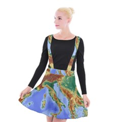 Italy Alpine Alpine Region Map Suspender Skater Skirt