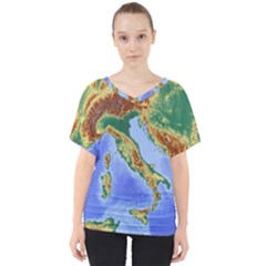 Italy Alpine Alpine Region Map V Neck Dolman Drape Top