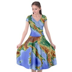 Italy Alpine Alpine Region Map Cap Sleeve Wrap Front Dress