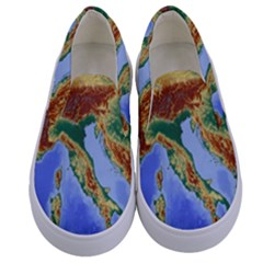Italy Alpine Alpine Region Map Kids  Canvas Slip Ons