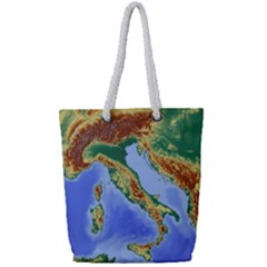 Italy Alpine Alpine Region Map Full Print Rope Handle Tote (small)