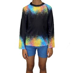 Frame Border Feathery Blurs Design Kids  Long Sleeve Swimwear