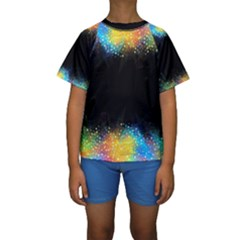 Frame Border Feathery Blurs Design Kids  Short Sleeve Swimwear