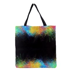 Frame Border Feathery Blurs Design Grocery Tote Bag