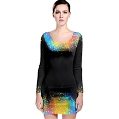 Frame Border Feathery Blurs Design Long Sleeve Bodycon Dress