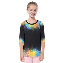 Frame Border Feathery Blurs Design Kids  Quarter Sleeve Raglan Tee