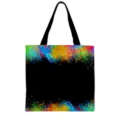 Frame Border Feathery Blurs Design Zipper Grocery Tote Bag