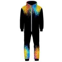 Frame Border Feathery Blurs Design Hooded Jumpsuit (men)