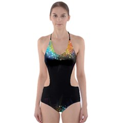 Frame Border Feathery Blurs Design Cut Out One Piece Swimsuit
