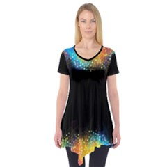Frame Border Feathery Blurs Design Short Sleeve Tunic