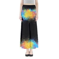Frame Border Feathery Blurs Design Full Length Maxi Skirt